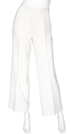 Guy Laroche Early 1970s Deadstock Cream Wide Leg Pants. Available on Featherstone Vintage.
