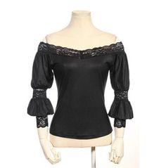Gothic Off The Shoulder Women Black Tops B095