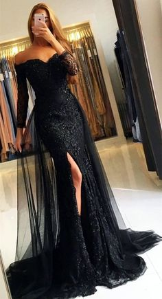 Elegant Off The Shoulder Lace Mermaid Evening Dresses With Sleeves - Mermaid Dresses Elegant Dresses, Sexy Dresses, Beautiful Dresses, Formal Dresses, Black Prom Dresses, Elegant Evening Gowns, Long Sleeve Evening Gowns, Long Dresses, Prom Dresses With Sleeves