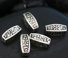 Long Pewter Square Edge Floral Stamped Barrel Spacer Beads - Set of 26
