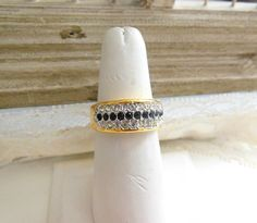 Vintage Clear Black Rhinestone Yellow Gold Tone by erisjewels