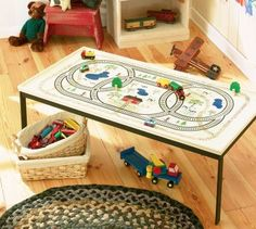 How to Stencil a Toy Train Table - Use this stencil project to make a wonderful Toy Train Table that is as fun as it is functional. Learn to stencil kids' decor in this article. Model Training, Train Table, Model Train Layouts, Kids Decor, Home Decor, Train Set, Models, Classic Toys, Diy Table