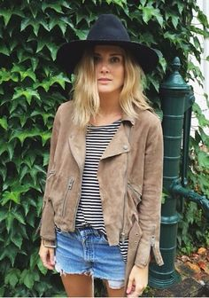 Stripes / cutoffs / hat / fringe jacket