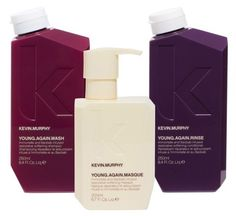 KEVIN MURPHY YOUNG AGAIN - Wash, Rinse and Masque <3 Now the AMAZING YOUNG AGAIN oil has become a wash, rinse and treatment masque!!  A line that is softening, moisturizing and provides antioxidants and anti aging properties to encourage regeneration of hair cells while stopping damage in its tracks! Make sure to use the masque AFTER shampooing and BEFORE you finish with the rinse. Perfect for frizzy textures when wanting to smooth the hair! MMM Moisture <3