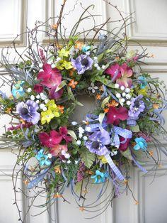 Spring Summer Twig Easter Floral Door Wreath - Hand Designed - Home Decor