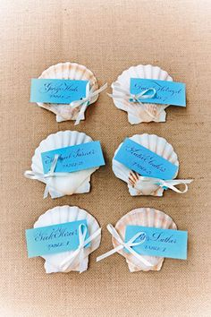 Cut colored card into rectangles about half the size of the shells. Punch a hole in one corner of each card and write a guest's name and table number. Thread ribbon through the hole and tie a bow. Attach the cards to the shells with glue.