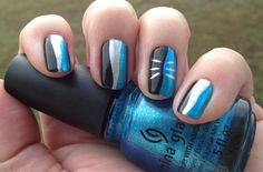 """My Carolina Panther nails using my """"perfect for any occasion"""" blue China Glaze So Blue Without You"""