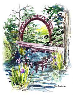 Bridge in the Garden http://irina-sztukowski.pixels.com/featured/japanese-tea-garden-san-francisco-irina-sztukowski.html #art #painting #watercolor #interior #decor #artwork #print #canvas #landscape #gorgeous #bridge