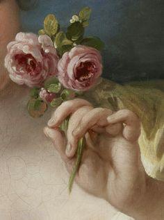 thevictorianduchess: fille avec des roses (détail) Atelier de François Boucher Huile sur toile c. 1760
