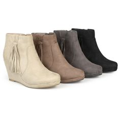 Women's Journee Collection Womens Round Toe Tassle Wedge Boots - Taupe (64 AUD) ❤ liked on Polyvore featuring shoes, boots, brown, brown boots, taupe ankle boots, fringe ankle boots, tassel ankle boots and short brown boots