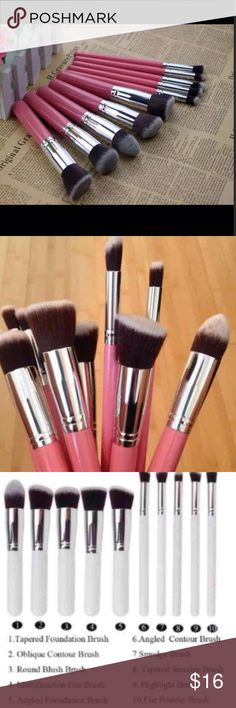 ☘☘New 10pcs Makeup Brushes Set Brush Length : about 15.5cm Handle the Diameter: about 2cm  Brush hair :Synthetic brush hair Round : Blend mineral products on nto the skin. Angled : Buff cream blush or bronzer onto the skin. Flat Angled : Works especially well on cheekbones and contours of the nose. Tapered : Apply cream and liquid foundations onto the harder to reach contours of the face.  Material: Wooden Handle + Syntheticj Brush Hair Makeup Brushes & Tools