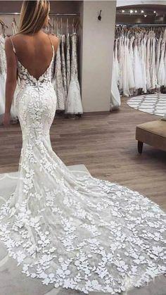 V Neck Wedding Dress, Applique Wedding Dress, Gorgeous Wedding Dress, Long Wedding Dresses, Boho Wedding Dress, Mermaid Wedding Gowns, Sheath Lace Wedding Dress, Wedding Dress Long Train, Southern Wedding Dresses