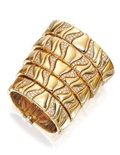18 Karat Gold and Diamond Cuff-Bracelet, Marina B, Circa 1980   lot   Sotheby's