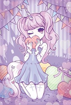 pastel goth girl with unicorn hair so cute and creepy al at ones