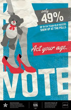 """AIGA posters for the annual """"Get Out The Vote"""" campaign. Description from danidonovan.com. I searched for this on bing.com/images"""