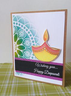 "CAS card made, using the stamp set,""diwali wishes"". Handmade Diwali Greeting Cards, Diwali Cards, Diwali Greetings, Diwali Wishes, Handmade Cards, Free Hand Rangoli Design, Small Rangoli Design, Rangoli Designs, Diwali Activities"