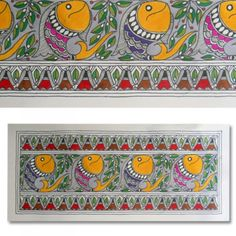 Shop Madhubani Tattoo Painting Featuring Fishes by Kalakruti online. Largest collection of Latest Wall Art and Paintings online. Worli Painting, Saree Painting, Kalamkari Painting, Online Painting, Fabric Painting, Paintings Online, Madhubani Art, Madhubani Painting, Traditional Paintings