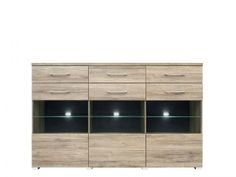 KOM3W3S/11/18 DEAL sideboard. The remote control works through the glass, so you can control your electronic equipment with the door closed. Hinges with integrated dampers ensure the doors close slowly, silently and softly. Polish Brw Modern Furniture Store in London, United Kingdom #furniture #polish #brw #dresser #cabinet