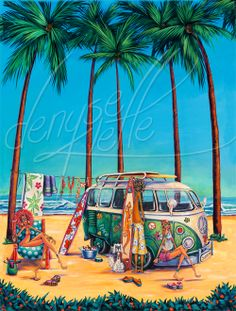Definitely Got the Surfin' Bug  Is there anything that says foot loose and fancy free more than an old VW wagon with surf boards on top?  Original Acrylic Canvas Print  $8400.00  interested in a canvas print?   http://dklette.com/products-page/prints-hangloose/definitely-got-the-surfng-bug/