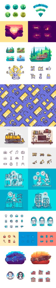Illustrations and icons from different projects.