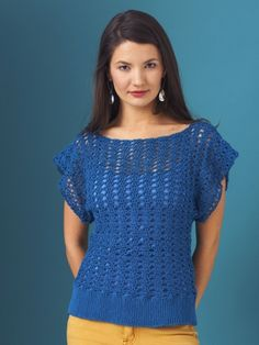 Free easy crochet sweater pattern. The stitches could be increased and continued to make this into a cute sweater dress.