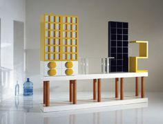 Buffet haut / design original / en bois by Ettore Sottsass OAK DESIGN Lego Furniture, Cool Furniture, Furniture Design, Sideboard Cabinet, Credenza, Memphis Design, Affordable Home Decor, Colorful Decor, Decoration