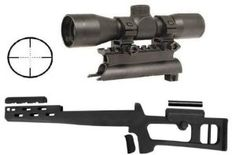 New arrival Advanced Technology International SKS Fiberforce Fixed Stock Ventilated Forearm with Dowel Sling Mount and Cheek Rest + Ultimate Arms Gear Tactical 4x30 mm Mil Dot Reticle Rifle Hunting Sniper Scope with See Thru Lens Caps + Stealth Black Steel SKS 7.62x3