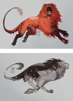 i like looking at animal colour morphs, so here are some for my kaimen. it is erythristic (red) and piebald these creatures are my own design, so please. Weird Creatures, Fantasy Creatures, Mythical Creatures, Creature Concept Art, Creature Design, Fantasy Beasts, Creature Drawings, Fantasy Monster, Monster Design