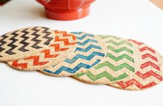 GroopDealz | Chic Chevron Drink Coasters - 5 Colors! #groopdealz #chevroncoasters #homedecor