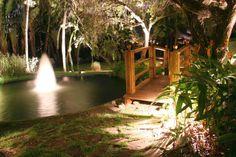 Water Features Lighting Idea Combine with Wooden Bridge in Romantic Garden Design Diy Wedding Lighting, Outdoor Party Lighting, Backyard Lighting, Lighting Ideas, Lighting Direct, Outdoor Night Wedding, Australian Lighting, Diy Water Feature, Australian Garden