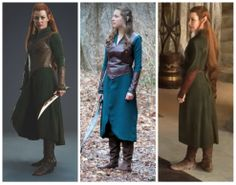 Compare and contrast of my costume with Tauriel's... Close enough. ;) (I included the other picture of her because the one is so edited it's not even funny. No way is Evangeline that tall!! :p)