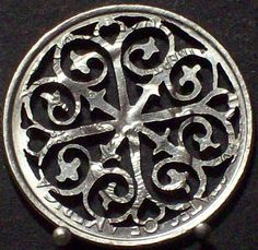Rose Window Hand Cut Coin Jewelry by bongobeads on Etsy