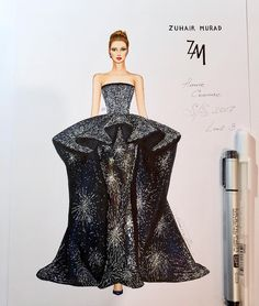 Beautiful luxuriously embroidered gown ✨🌟✨(haute couture collection Spring Summer 💖 The… Fashion Drawing Dresses, Fashion Illustration Dresses, Fashion Dresses, Fashion Illustrations, Couture Fashion, Fashion Art, Fashion Models, Fashion Design Drawings, Fashion Sketches