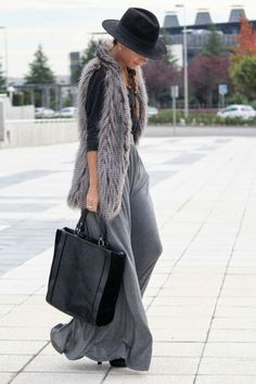 speaking volumes #streetstyle #fur #palazzopants