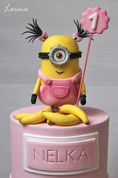 Maybe do a sheet with rainbow strips going up around all the sides of the cake, a girl minion holding a penguin next to some gifts, bananas scattered around and some balloons and stars on sticks Minion Torte, Bolo Minion, Minion Cakes, Fondant Minions, Minion Birthday, Birthday Cake Girls, Birthday Cakes, Cute Cakes, Fancy Cakes