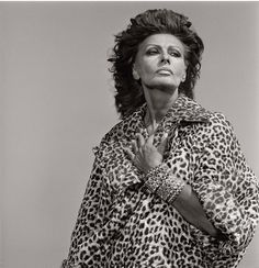 sophia loren by michel comte for vogue italia-portrait, 1992 Sophia Loren, Vogue, Animal Print Fashion, Italian Actress, Yesterday And Today, Vintage Glamour, Vintage Style, Timeless Beauty, Most Beautiful Women