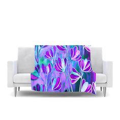 "Ebi Emporium ""Efflorescence - Lavender Blue"" Teal Purple Fleece Throw Blanket"