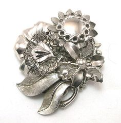Upcycled Silver Brooch silver brooch bridal by LizonesJewelry, $18.25