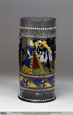 Humpen mit Hochzeitstänzern, Böhmen, um 1590, Köln, Museum für Angewandte Kunst, Inv.-Nr. F 396 — Rheinisches Bildarchiv Köln, Bilddatei rba_c004159; Positiv-Nr. C 004159; (color, 13x18); Aufn.-Datum: um 1985; Ektachrome; Fotoinhalt: Gesamtansicht, Paar Renaissance, Canteen Bottle, Project Table, Painted Cups, Enamel Paint, Glass Etching, 16th Century, Middle Ages, Horns