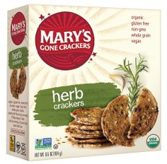 Mary's Gone Crackers® Gluten Free Herb Crackers--these are great with cheese! My fave is feta with these.