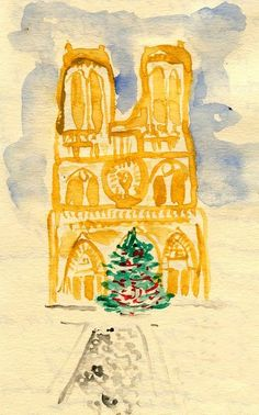 """""""I did not include people in this drawing even though the square in front of Notre Dame is always crowded,"""" says Coggins. """"I wanted to focus on the simple composition of the famous church and tree, an eternal Paris-in-winter scene."""""""