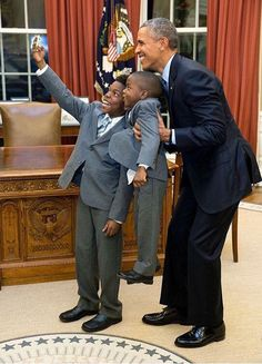 President Obama and young men