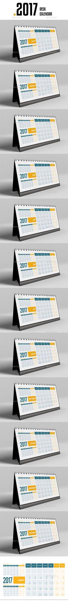 Desk Calendar 2017 — InDesign INDD #calender #year • Download ➝ https://graphicriver.net/item/desk-calendar-2017/19045857?ref=pxcr