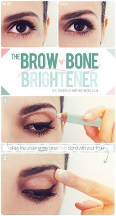 Brow bone brightner http://thebeautydepartment.com/2013/05/secret-eye-lift/