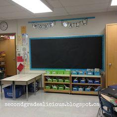 Classroom word wall, matching bins! #classroom #decor #teachers