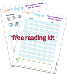 Free Reading Kit to keep track of all the books read by you and/or your child(ren).