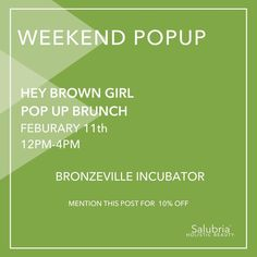 Looking to get your Salubria fix? Meet us this weekend at the @hey_brown_girl Pop up Brunch! There will be treats drinks music and of course shopping! We'll be featuring some of our Valentines Day specials for the sweetie in your life. Mention this post for 10% off your order!  #salubriacare #salubriagram #natural #beauty #botanical #love #holistic #indiebeauty #cleanbeauty #greenbeauty #blog #beautyblog  #skin #haircare #bath #aromatherapy #essentialoils #skincare #smallbatch #chicagomade…