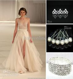 Wholesale Sexy Ivory Tulle Lace Evening Prom Dresses Free Hair Pins Free Bracelet Cuff 2013 buy 1 get 2, Free shipping, $179.2-189.28/Piece   DHgate