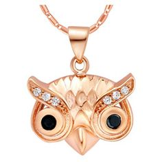 Discount Owl Necklace Men 2015 Promotion Real Jewelry Owl Necklace Women Rose Gold for Pingente Sterling Silve White Crystal Pendant Men Black Colar Feminino N1101