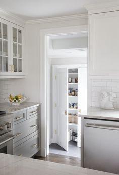 Grey cabinetry, pantry. ErinGates